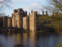 Castle & Lake. Herstmonceux Castle, East Sussex on a winter\'s day Stock Images