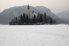 Castle and lake Bled Stock Photography