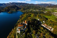 Castle on lake Bled Stock Images