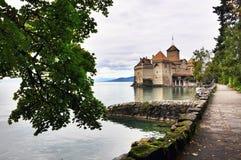 Castle on lake. Chillon castle on Geneva lake Stock Image