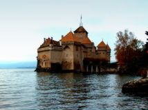 The castle in the lake. Chillon castle in Leman lake.Swiss stock photo