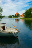 Castle on lake Galve in Trakai, Lithuania Royalty Free Stock Photography