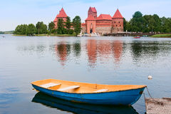Castle on lake Galve in Trakai, Lithuania Stock Images