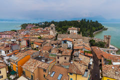 Castle on Lake Garda in Sirmione Italy Stock Image