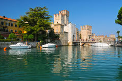 Castle on lake Garda in Sirmione, Italy Royalty Free Stock Photos