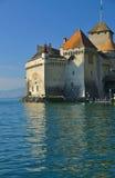 Castle on lake geneva stock photo