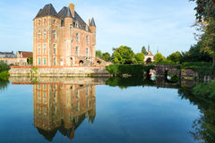 Castle on the lake in the Loire Valley in France Stock Images