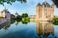 Castle on the lake in the Loire Valley in France Royalty Free Stock Images