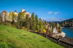 Castle on the lake in Niedzica, Poland.  stock images