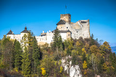 Castle on the lake in Niedzica, Poland.  royalty free stock images