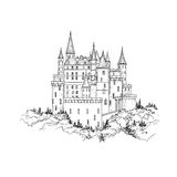 Castle landmark sketch illustration. Medieval palace building Royalty Free Stock Images