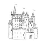 Castle landmark sketch illustration. Medieval palace building Royalty Free Stock Photo