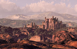 Castle Landscape. A distance medieval castle fortress in the countryside royalty free illustration