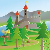 Castle and tourist pointer. Landscape with castle and forest. Below is a tourist signpost with bird. Colored funny postcard vector illustration