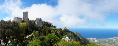 Castle. Landscape panorama from  Eriche castle, Sicily, Italy Stock Image