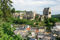 Castle Larochette - Larochette - Luxembourg. View on the castle ruins of medieval Château de Larochette high above the town of Larochette in central Luxembourg royalty free stock photos