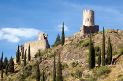 Castle of Lastours 11. Cabaret and Regina Tower Castles on a sunny summer afternoon Stock Photo