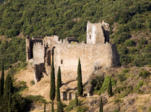 Castle of Lastours 16. Cabaret Castle Ruins on a sunny summer afternoon stock photography