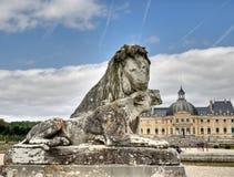 castle le lion雕塑vaux vicomte 库存照片
