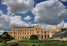 Castle Lednice with French  gardens  in Czech Republic in Europe Royalty Free Stock Photos