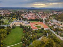 Free Castle Lednice In Czech Republic - Aerial View Royalty Free Stock Images - 104466749