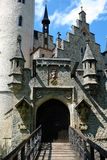 Castle Lichtenstein gateway entrance. The gateway to Castle Lichtenstein. Gothic Revival architecture in Swabia, Germany Royalty Free Stock Photos