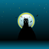 Castle in the light of the moon. Abstract colorful illustration with dark castle silhouette illuminated by the light of the moon Royalty Free Stock Image
