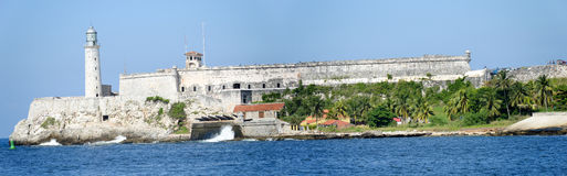 Castle and lighthouse of El Morro at Havana Stock Photos