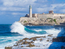 The Castle and lighthouse of El Morro in Havana Stock Image