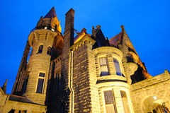Castle lighting. Night lighting scene of the historic craigdarroch castle (built in 1890), downtown victoria, british columbia, canada Royalty Free Stock Photos