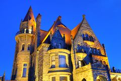 Castle lighting. Night lighting scene of the historic craigdarroch castle (built in 1890), downtown victoria, british columbia, canada Royalty Free Stock Image