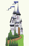 Castle. Line and color drawing of a white castle with blue roofs on a grassy hill with trees and bushes vector illustration