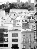 Castle in Lisboa. Sao Jorge Castle in Lisboa, city in black and white Royalty Free Stock Photo