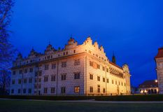 Chateau Litomysl in ewening.CZ. Illuminated chateau in the evening after twilight.Litomysl.CZ stock photos