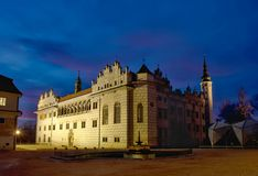 Chateau Litomysl in ewening.CZ. Illuminated chateau in the evening after twilight.Litomysl.CZ stock photography