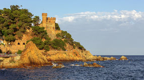 Castle at Lloret De Mar, Costa Brava, Spain. Coastal image of the castle of Lloret De Mar, Costa Brava, Spain stock photography