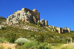 Rock with the Castillo de Loarre close to spanish Pyrenees. Stock Photo