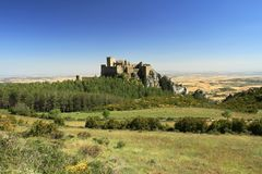Rock with the Castillo de Loarre close to spanish Pyrenees. Royalty Free Stock Image