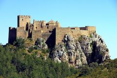 Rock with the Castillo de Loarre close to spanish Pyrenees. Royalty Free Stock Photos