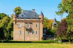 Castle Loersfeld in Kerpen, Germany. Kerpen, Germany - August 19, 2018: Castle Loersfeld with unidentified people. It dated from 15th century. Today it includes stock photo