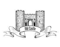 Castle logo. Retro  label. Stock Photos