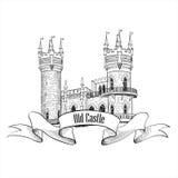 Castle logo. Retro vector building label. Royalty Free Stock Images