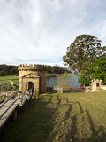 Castle lookout tower. Over the boats on the water, Port Arthur in Tasmania, Australia Royalty Free Stock Photo