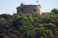 Castle with loopholes in the forest. France Stock Photography