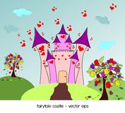 Castle of love with roses trees Stock Photo