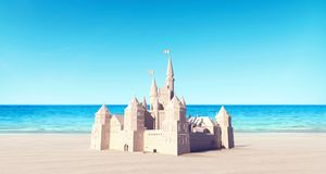 Castle made of sand on the beach summer background. 3D Rendering royalty free stock image