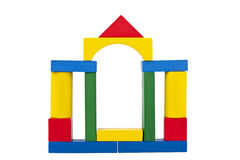 Castle made from wooden toy blocks Stock Images