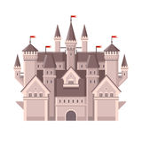 Castle. Magic Fairy Tale Building with Red Flags. Vector Stock Photography