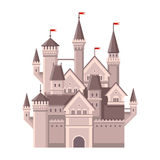 Castle. Magic Fairy Tale Building with Red Flags. Vector Royalty Free Stock Image