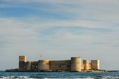 Castle of Maiden. Kizkalesi Maiden's Castle, which lies 200 m in the sea in evening light, Turkey Royalty Free Stock Photo
